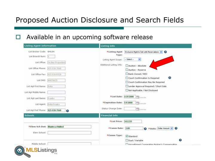 Proposed Auction Disclosure and Search Fields