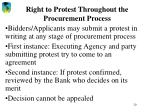 right to protest throughout the procurement process