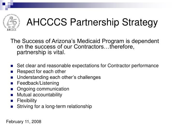 AHCCCS Partnership Strategy