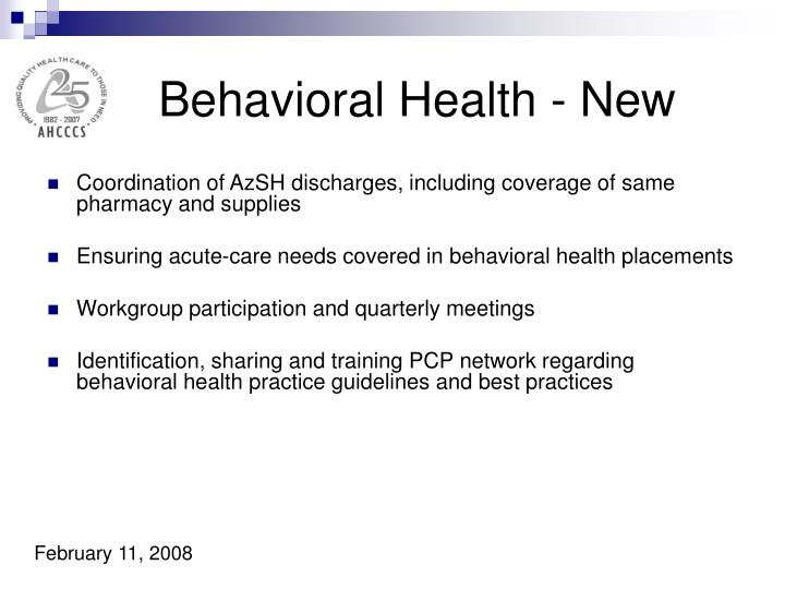 Behavioral Health - New