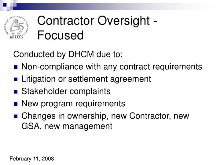 Contractor Oversight - Focused
