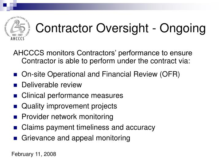 Contractor Oversight - Ongoing