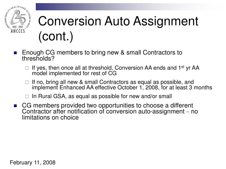 Conversion Auto Assignment (cont.)