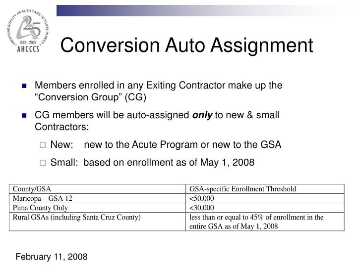 Conversion Auto Assignment