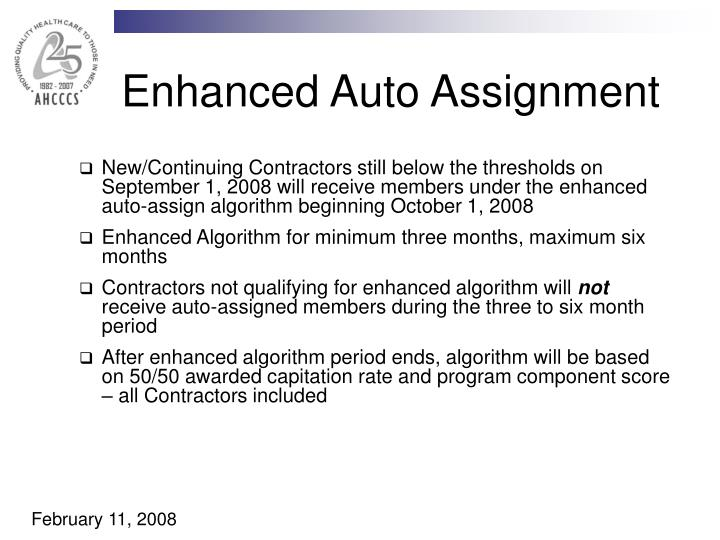 Enhanced Auto Assignment