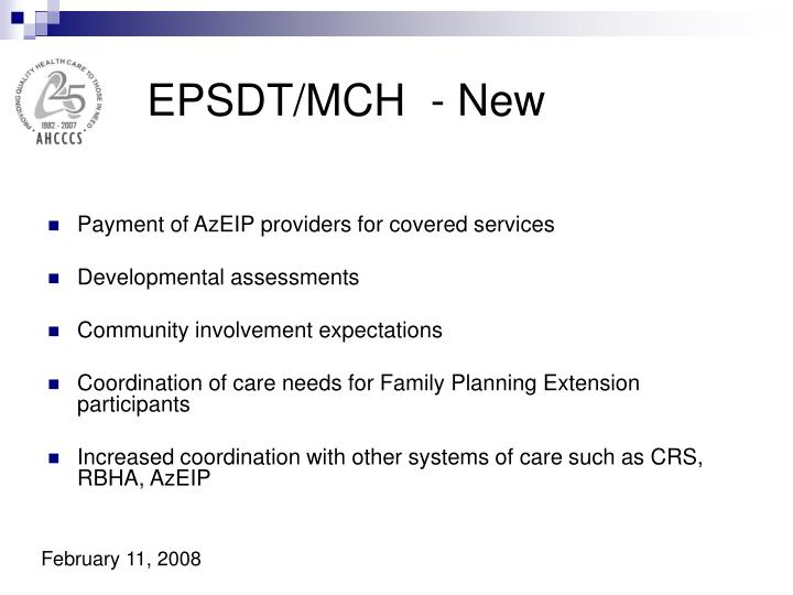 EPSDT/MCH  - New