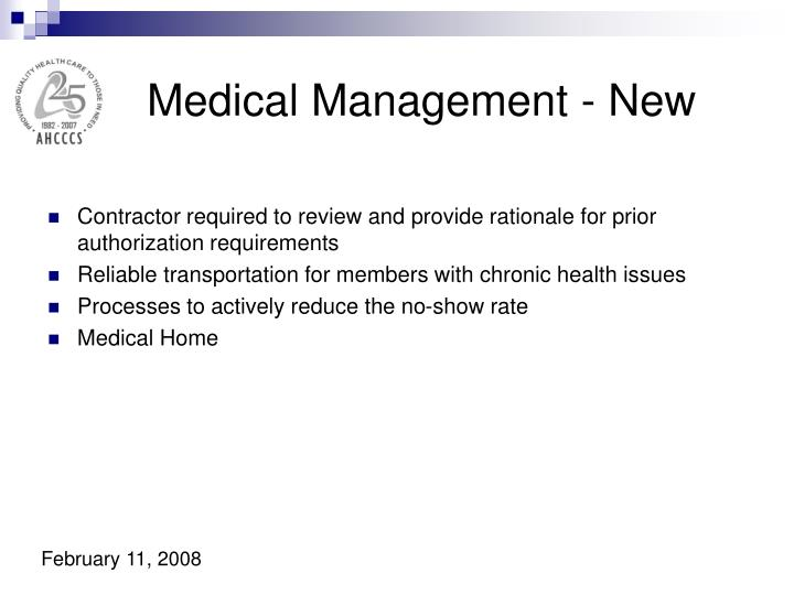 Medical Management - New