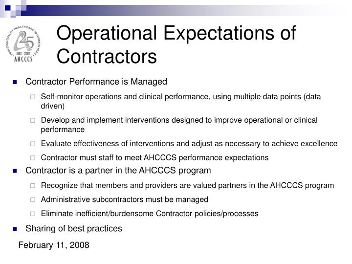Operational Expectations of Contractors