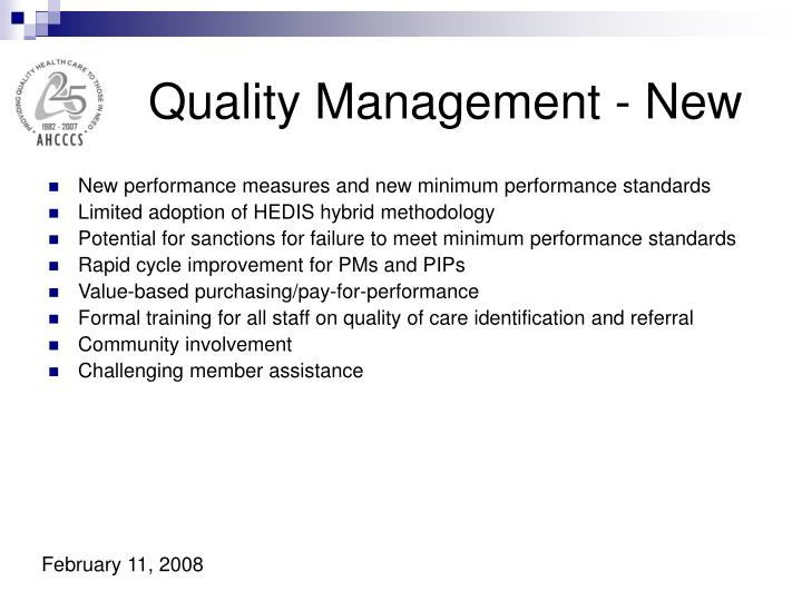 Quality Management - New