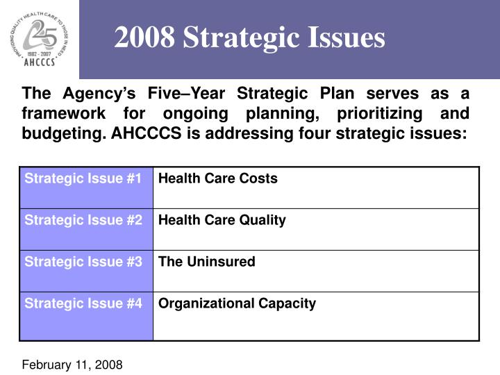 2008 Strategic Issues