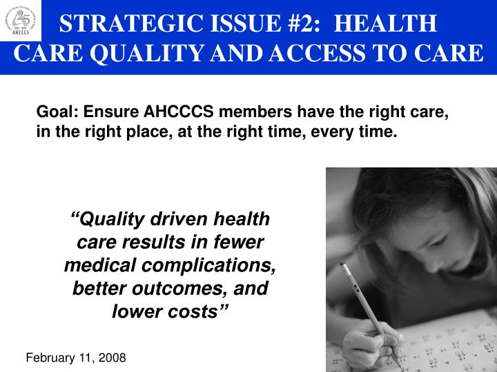 STRATEGIC ISSUE #2:  HEALTH
