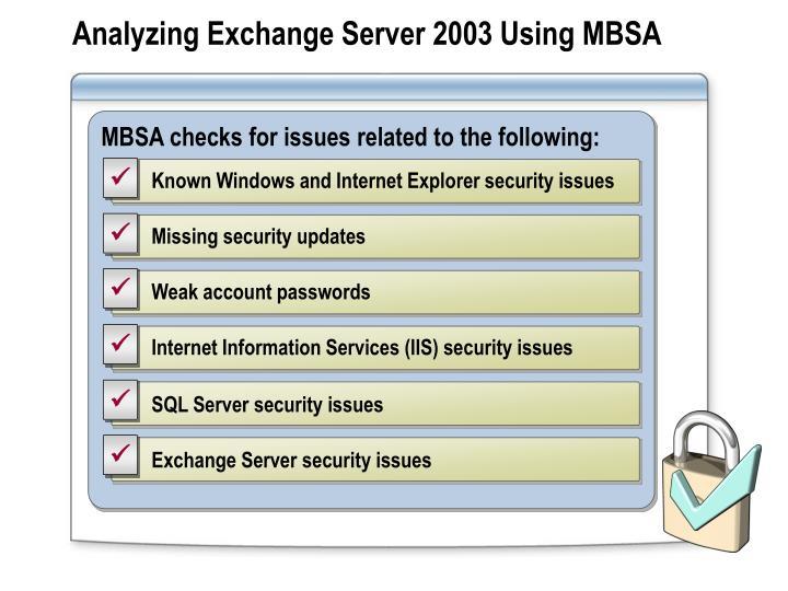 Analyzing Exchange Server 2003 Using MBSA