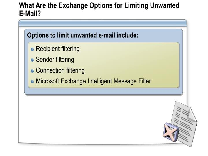 What Are the Exchange Options for Limiting Unwanted E-Mail?