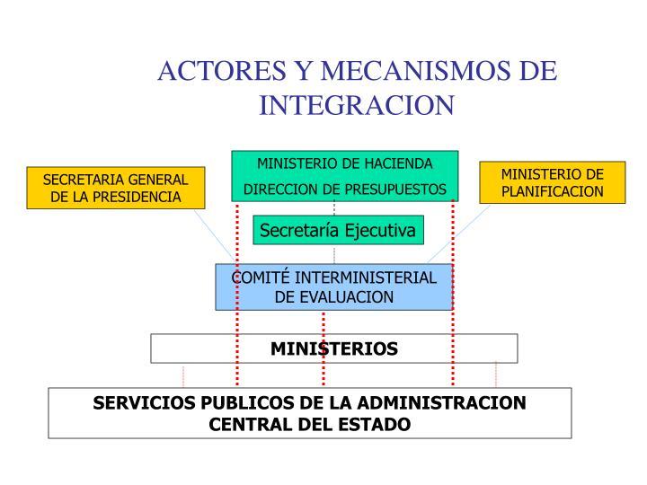 ACTORES Y MECANISMOS DE INTEGRACION