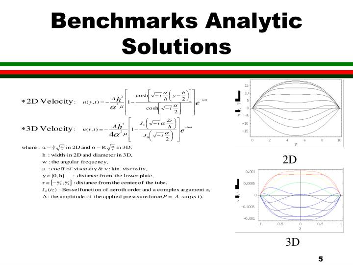 Benchmarks Analytic Solutions