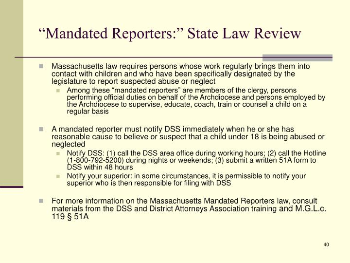 """Mandated Reporters:"" State Law Review"