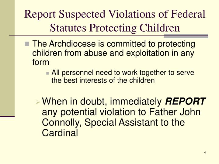 Report Suspected Violations of Federal Statutes Protecting Children