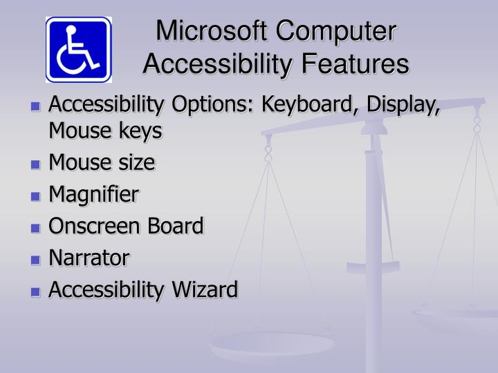 Microsoft Computer Accessibility Features