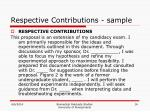 respective contributions sample