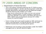 fy 2009 areas of concern