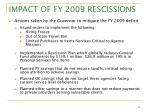 impact of fy 2009 rescissions1