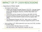 impact of fy 2009 rescissions7