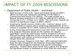 impact of fy 2009 rescissions8