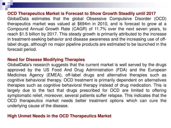 OCD Therapeutics Market is Forecast to Show Growth Steadily until 2017