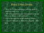 rural urban divide