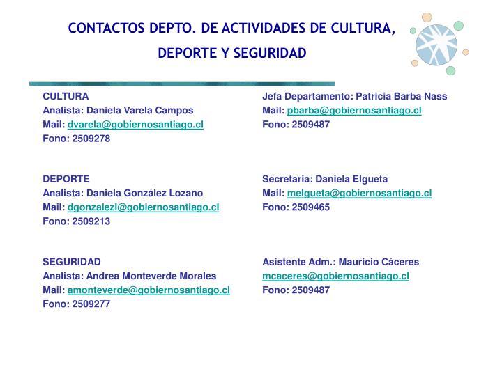 CONTACTOS DEPTO. DE ACTIVIDADES DE CULTURA,