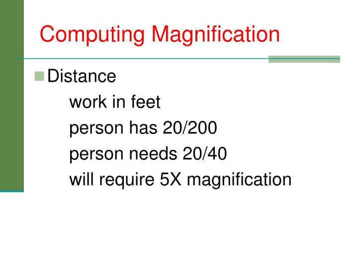 Computing Magnification