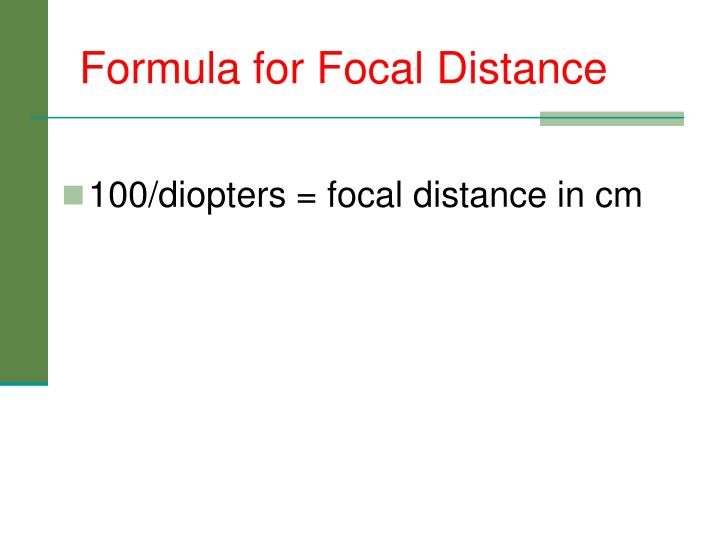 Formula for Focal Distance