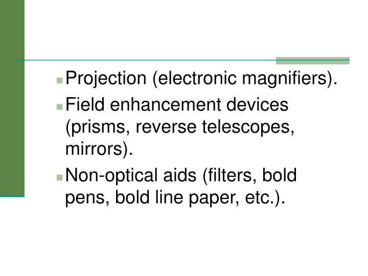 Projection (electronic magnifiers).