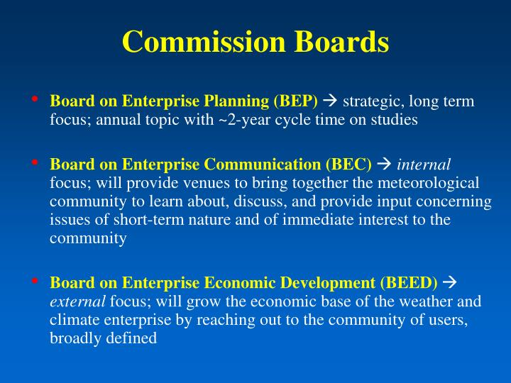 Commission Boards
