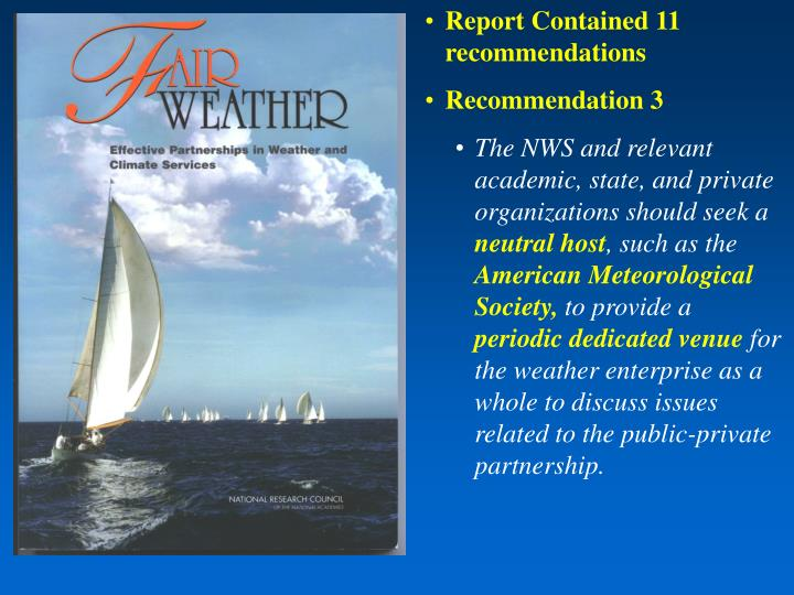 Report Contained 11 recommendations