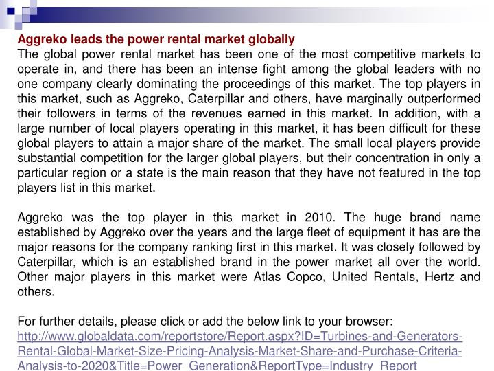 Aggreko leads the power rental market globally