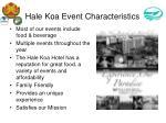 hale koa event characteristics