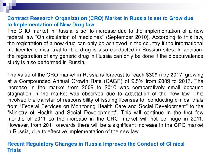 Contract Research Organization (CRO) Market in Russia is set to Grow due