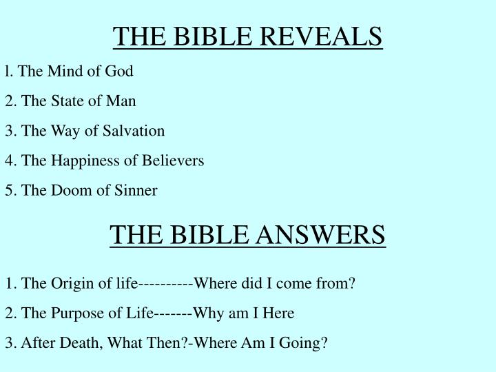 THE BIBLE REVEALS