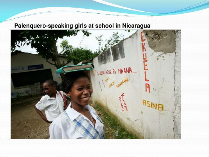 Palenquero-speaking girls at school in Nicaragua