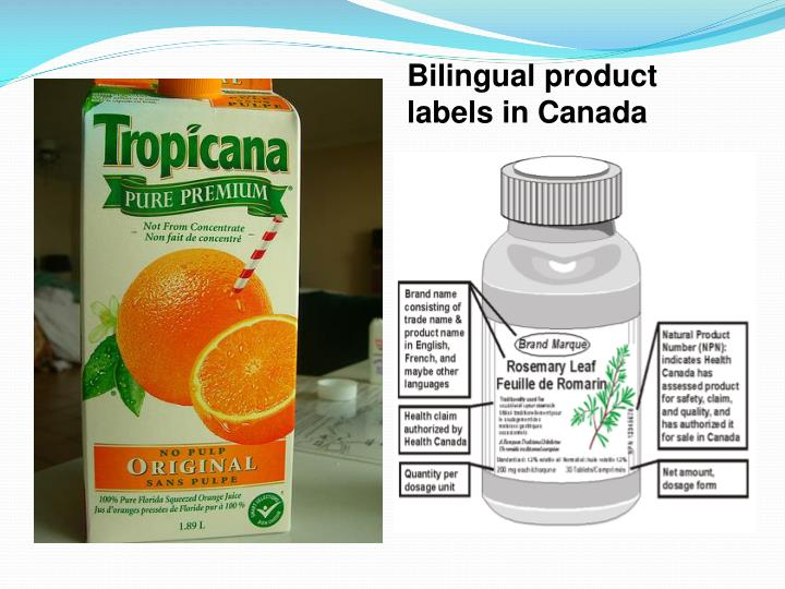 Bilingual product labels in Canada
