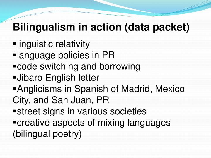Bilingualism in action (data packet)