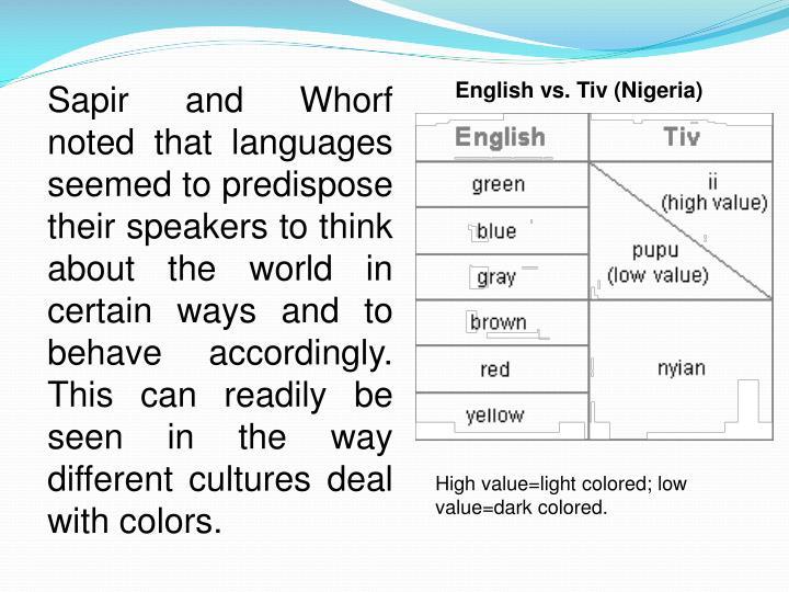 English vs. Tiv (Nigeria)