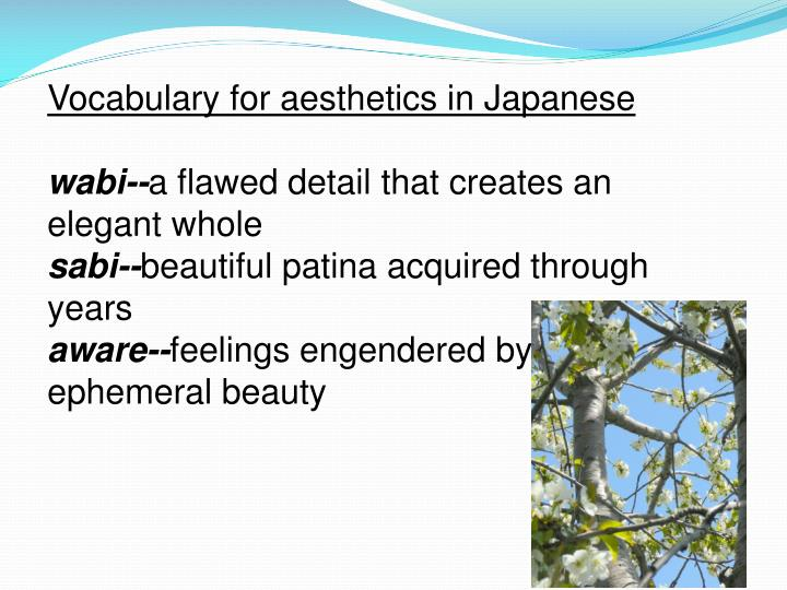 Vocabulary for aesthetics in Japanese