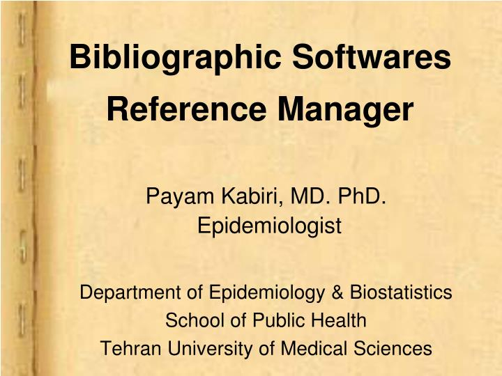 bibliographic softwares reference manager n.