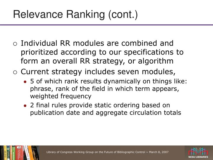 Relevance Ranking (cont.)