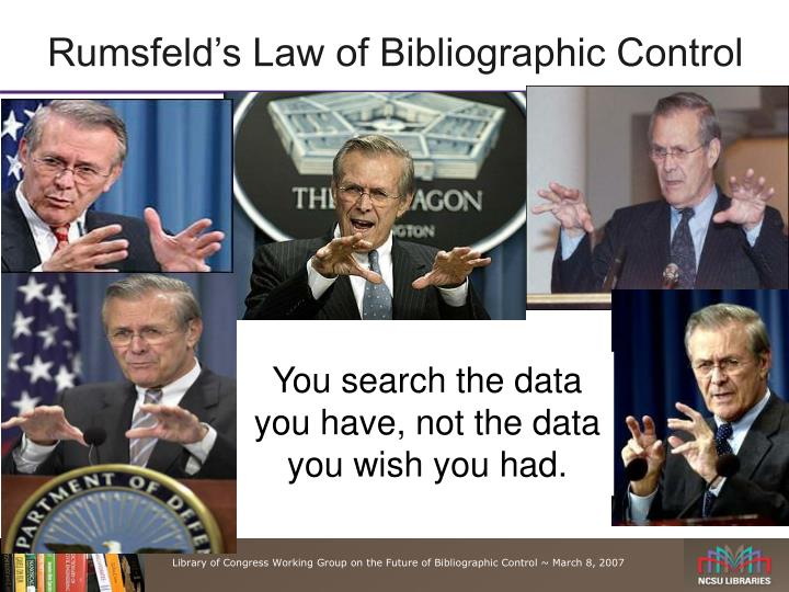 Rumsfeld's Law of Bibliographic Control