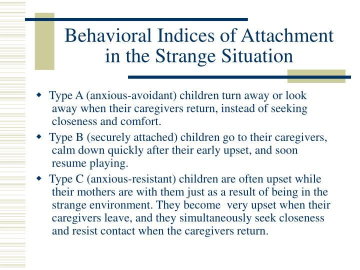 Behavioral Indices of Attachment in the Strange Situation