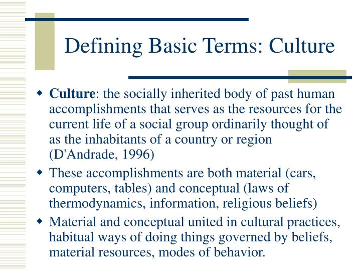 Defining basic terms culture