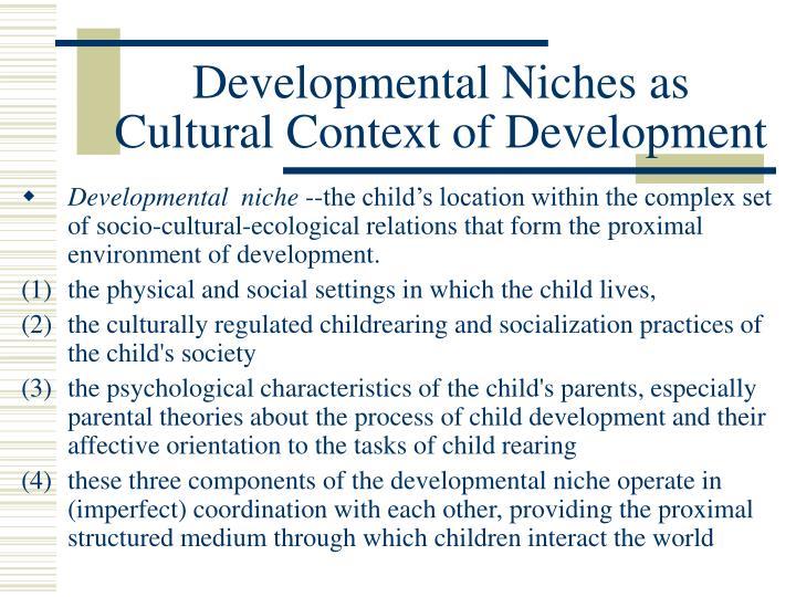 Developmental Niches as Cultural Context of Development